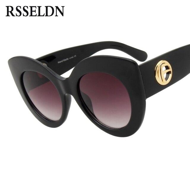 2407c77198 RSSELDN Fashion Cat Eye Sunglasses Women Brand Designer Retro Oversized  Black Luxury Sun Glasses Female oculos