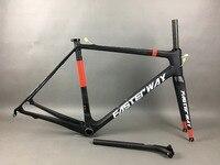 Классический дизайн FASTERWAY PRO Красный с белыми наклейками углерода набор рам для дорожных велосипедов: карбоновая рама + подседельный штырь +