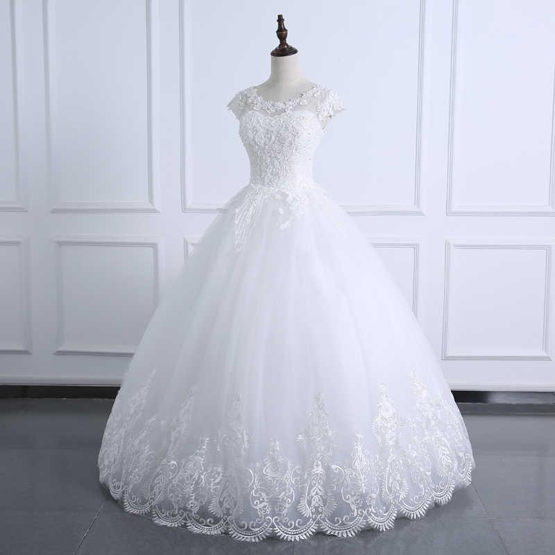 2020 כדור שמלת חתונת שמלת תחרה גוף פנינים קצר שרוול שמלת כלה בתוספת גודל שמלת כלה תמונה אמיתית Vestido דה noiva