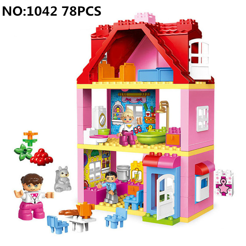 78PCS DIY Model Large Size Pink villa Girls Big Building Blocks Bricks set Kids Compatible Legoing Duploe Toys for girl Children 26pcs highway bridge blocks set large train railway building blocks kids diy toys compatible with duploe children gift