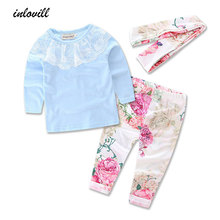 Baby Girl Clothing Sets 2018 New Fashion Children Girls Clothes Lace Neck Tops+Pant+Headband 3PCS Toddler Kids Clothing Sets стоимость