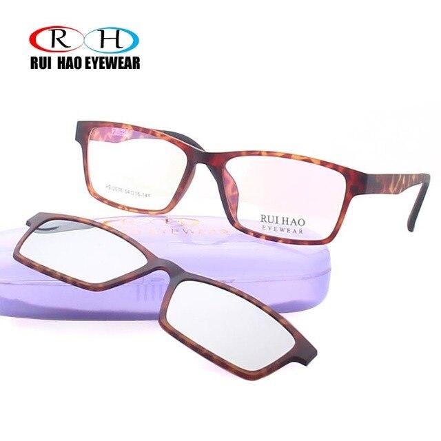 04caed4b4c16d Hao Rui Óculos Leopardo Óculos Ópticos Quadro Homens Óculos de Prescrição  Armações de Óculos Óculos Polarizados Clipe na