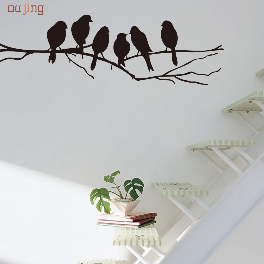 2017 Homey Design Wall Stickers Decal Removable Black Bird Tree Branch Art  Home Mural Decor New Fine Textile Feb29 Part 79