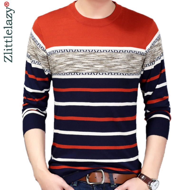 2019 Designer Pullover Striped Men Sweater Mensthin Jersey Knitted Sweaters Mens Wear Slim Fit Knitwear Fashion Clothing 52534