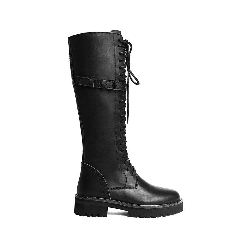 Cuero Los Al Diseño Genuino Cordones Mujer Martin Mayor Marca Zapatos Negro Por Doratasia Botas De YqZHO5w