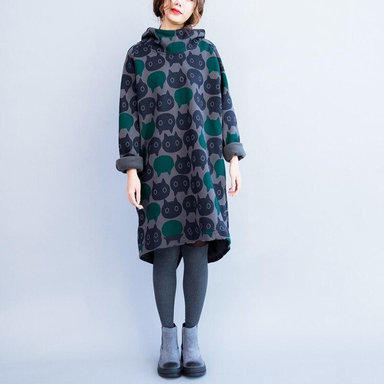 Plus Size Women Hoodies & Sweatshirts Winter Thickening Warm Cotton Fashion Female Cat Print Big Size Casual Turtleneck Dress 13