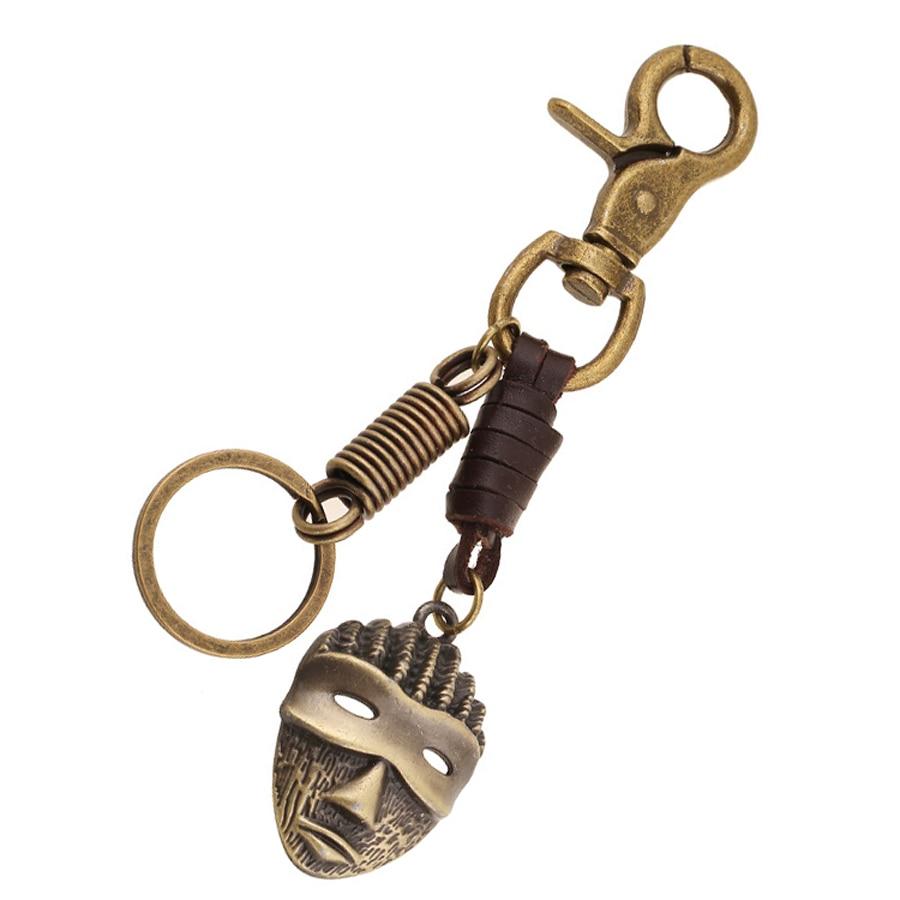 Fashion Creative Genuine Leather Bronze Charms keyring Key Ring Keychain Gift