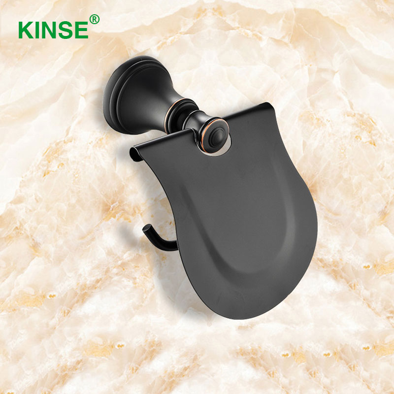 KINSE Copper Brass Material Luxury Wall Mounted Toilet Paper Holder with Anti-water Panel Paper Holder Bathroom Accessories new bullet head bobbin holder with ceramic tube tip protecting lines brass copper material