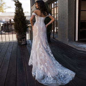 Image 4 - Jiayigong Sexy Mermaid Wedding Dress Off the Shoulder Sleeveless Applique Lace Wedding Gowns Robe De Mariage for Bride