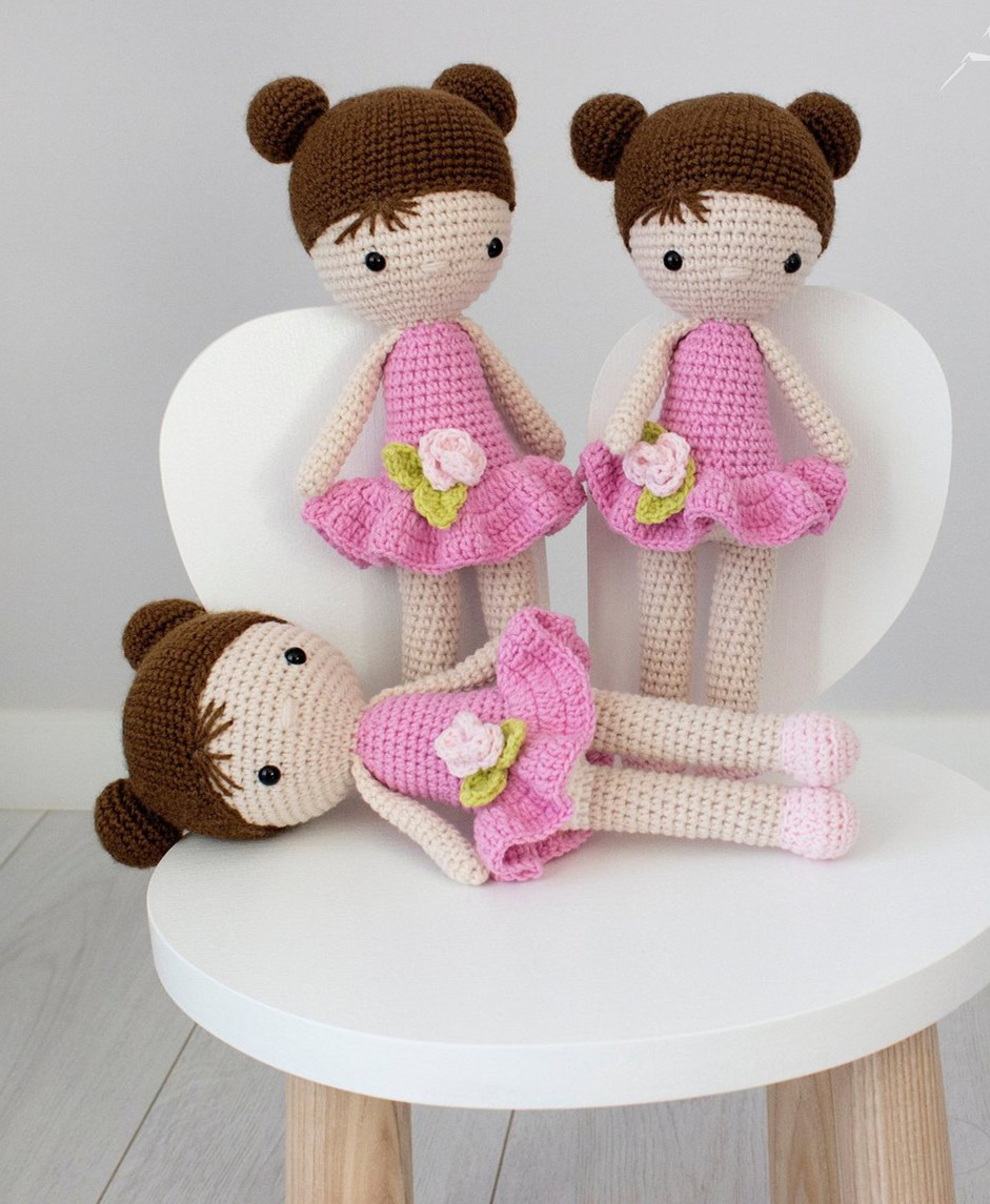Crochet Doll Pattern - Milena Amigurumi Doll in Pink clothes, doll ... | 1145x941