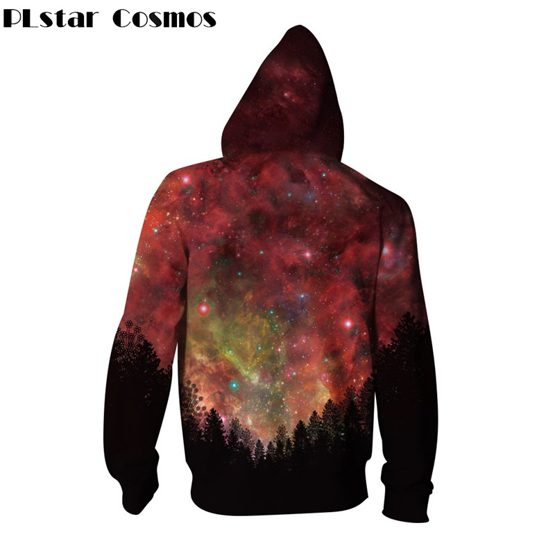 PLstar Cosmos Tops Long-sleeved Pullovers Hoodies Women Men Zipper Hoodie Space Galaxy Forest Sweatshirt Streetwear Unisex Hoody