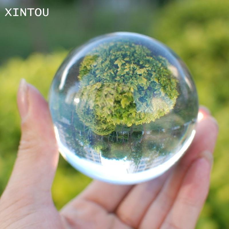 XINTOU 60mm Photography Crystal Ball Ornament FengShui Globe Sphere Divination Quartz Magic Glass Ball Home desk Decor Sphere