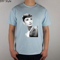 2014 DIY Style AUDREY HEPBURN T Shirt Cotton Lycra Top0201 Fashion Brand T Shirt Men New