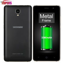 Doogee X10 5.0 pouce Android 6.0 MT6570 Smartphone 512 MB RAM 8 GB ROM Double Sim 480*854 5MP Caméra 3360 mAh Double ID Téléphone Débloqué