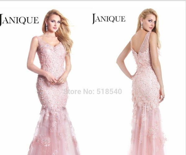 free shipping vestido de festa crystal robe de soiree 2016 new fashion sexy v-neck hot party gown pink long lace   prom     Dresses