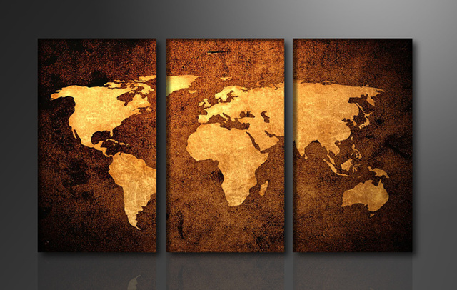 Yellow world map 3 panels huge hd great canvas print for living yellow world map 3 panels huge hd great canvas print for living room wall gumiabroncs Images