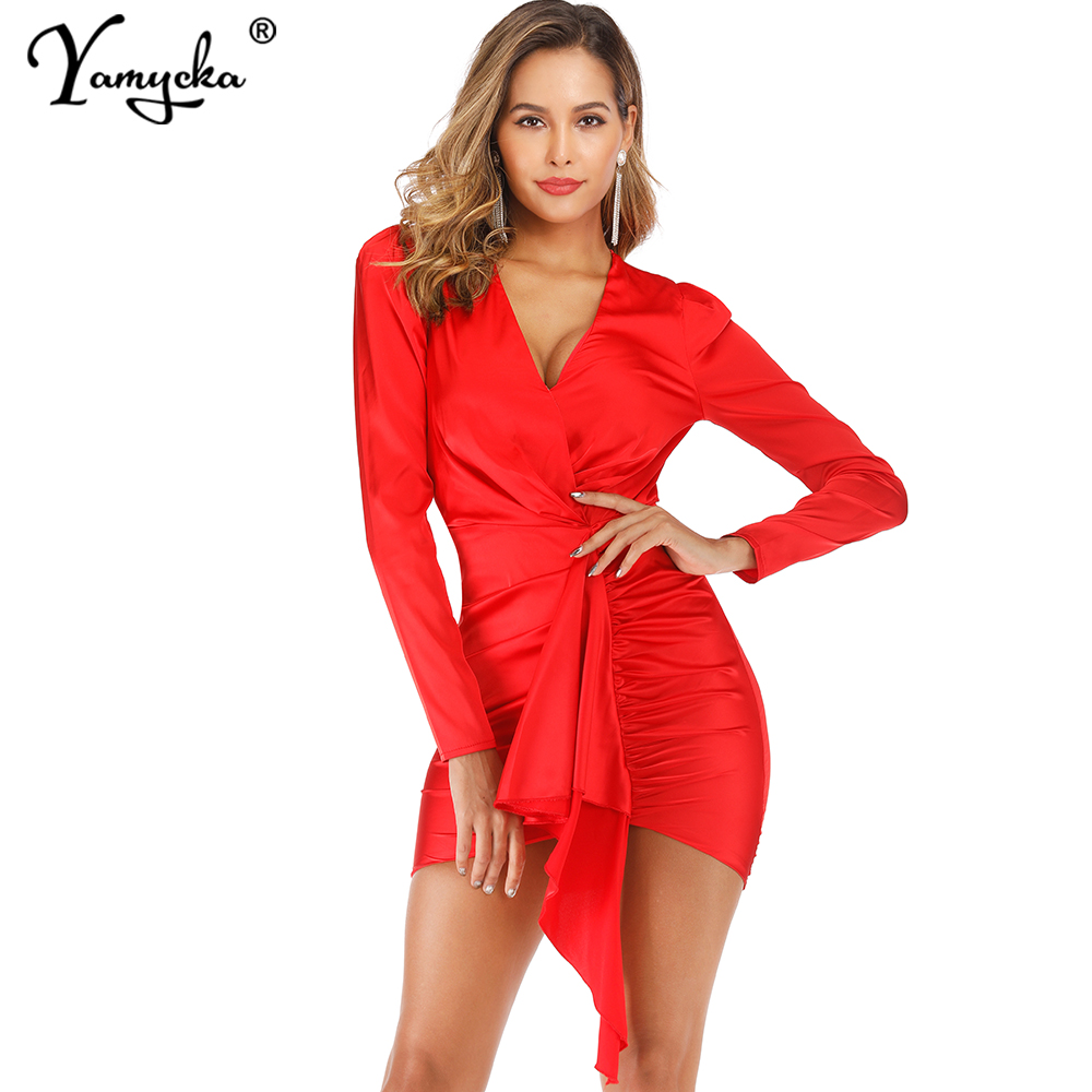 Sexy Fold Satin Bodycon Summer Party Dress Women V Neck Elegant Long Sleeve Club Vintage Wrap Dresses Midi Vestidos Clothes New