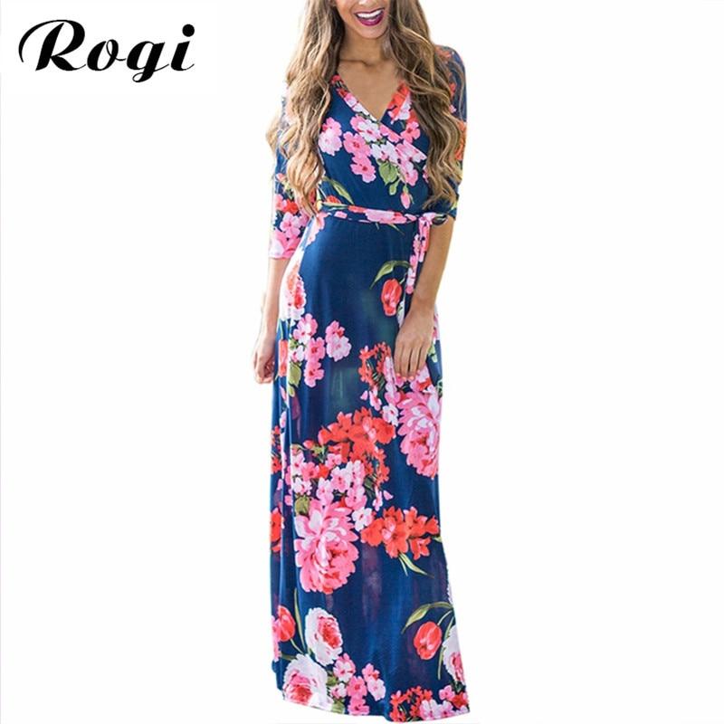 48616bd2785 Detail Feedback Questions about Rogi Vintage Floral Printed Dress Women 2018  V Neck Beach Casual Tunic Femme Vestidos Half Sleeve Boho Pocket Long Maxi  ...