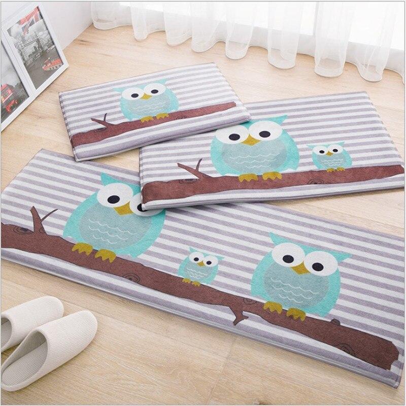 Owl Carpet 45*120cm Kitchen Mat Cartoon Home Carpet Door