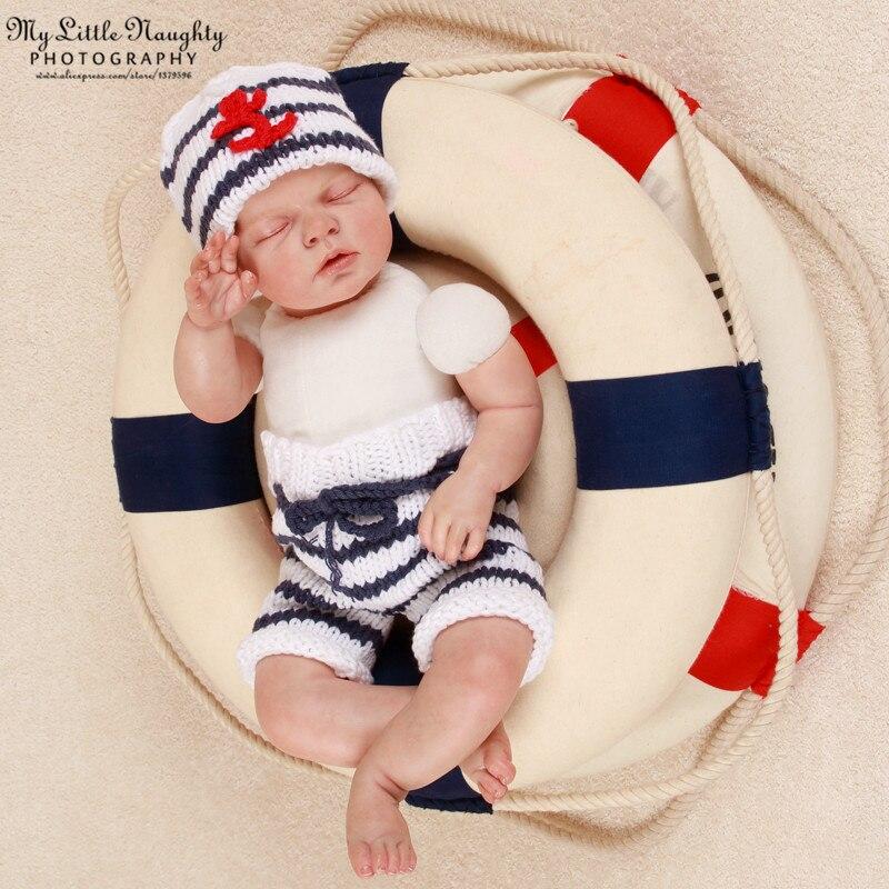 Pantalones de ganchillo apoyos de la fotografía bebé recién nacido sombrero  de marinero + navy whtie azul a rayas ancla traje de bebé recién nacido  hecho a ... bde3ef3df46