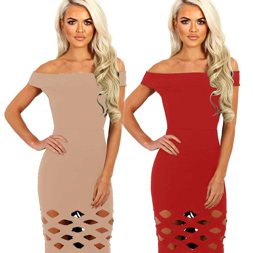 Graceful Smooth Fashional Womens Off Shoulder Hollow Bodycon Ladies Caged Sleevlees Dress Cheap Womens Dress 2018 Robe
