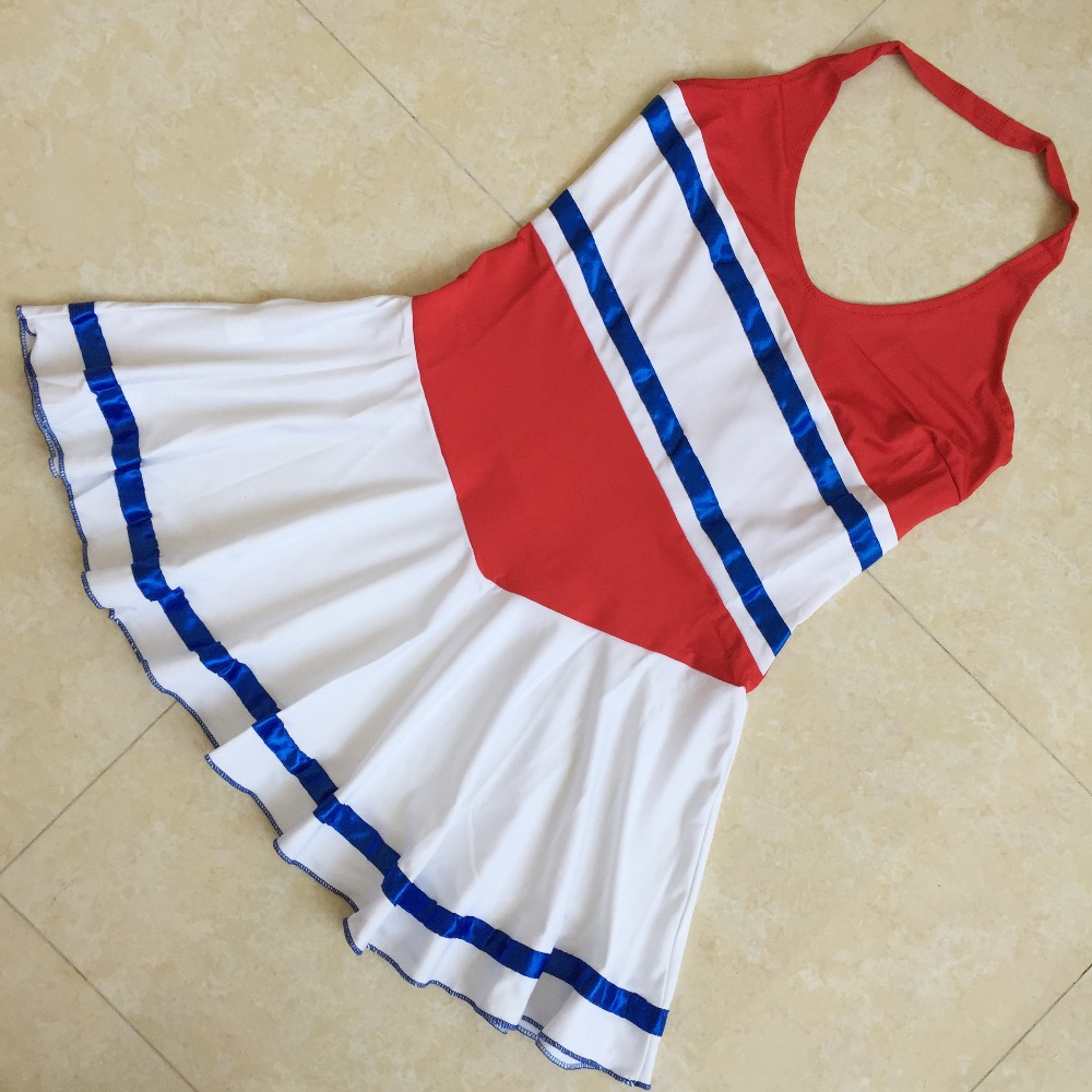 (2pcs Pom Poms+1 Dress) Red Sexy Cheerleaders Costume Halloween Party Outfit Cheering Costume Skirts School Uniform Cheer Dress