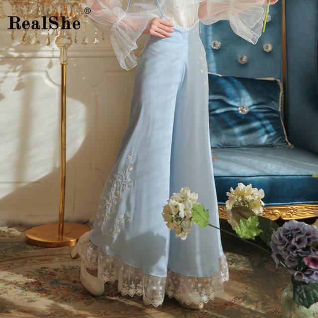 RealShe Fashion Summer Elegant Wide Leg Pants Women High Elastic Waist Lace Patchwork Full Length Pants Loose Trousers