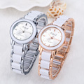 Luxury Rose Gold Silver Alloy & Plastic Small Quartz Bracelet Wristwatches Wrist Watch for Women Ladies Girls
