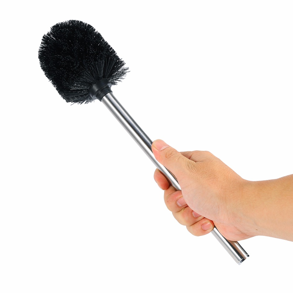 1pcs Bathroom Toilet Brush With Stainless Steel Handle Black Head Bathroom Cleaning Tools