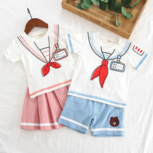 Kids clothes set for 5 6 years girls boy student School uniform For baby Halloween Cosplay Costume Tops And Skirt For Girls(China)