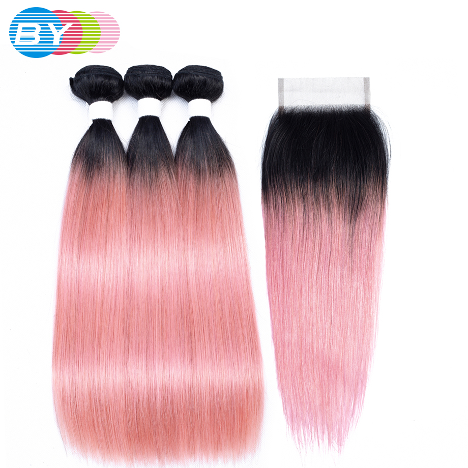 By Brazilian Hair Weave Bundles With Closure Ot Rose Gold
