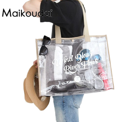 Maikoudai Fashion Women Clear Transparent Handbag Tote Shoulder Bags Beach Bag Popular