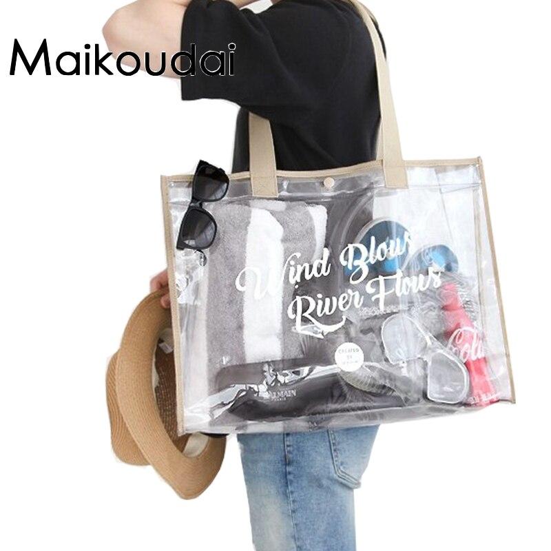 Maikoudai Mode Femmes Clair Transparent Sac À Main Fourre-Tout Sacs à Bandoulière Sac De Plage Populaire