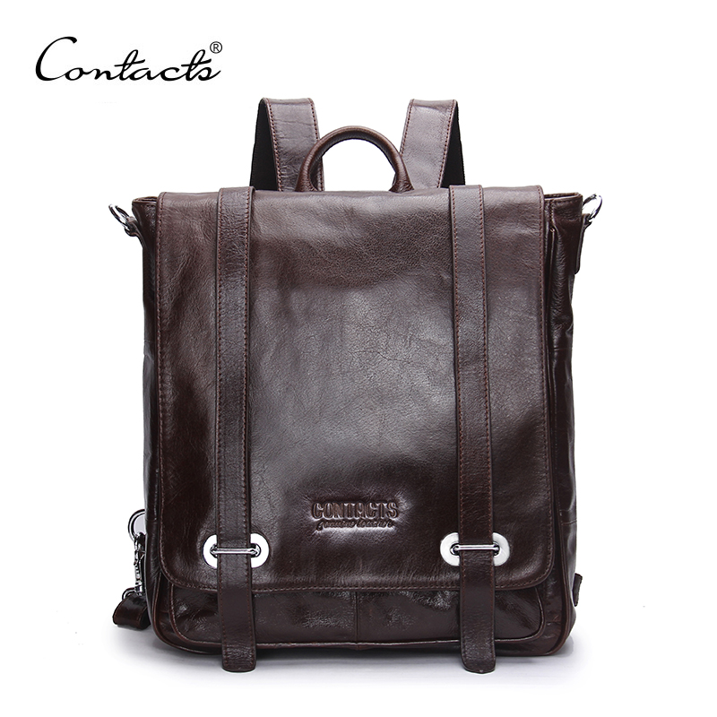 CONTACT'S Genuine Leather Backpack Men Multifunctional Backpack Korean Fashion Male School Backpack Large Travel Bag Brand Bags