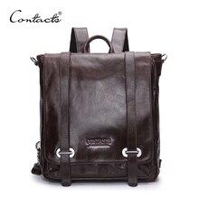 CONTACT'S Aus Echtem Leder Rucksack Männer Multifunktionale Rucksack Koreanischen Mode Männlichen Schule Rucksack Große Reisetasche Marke Taschen