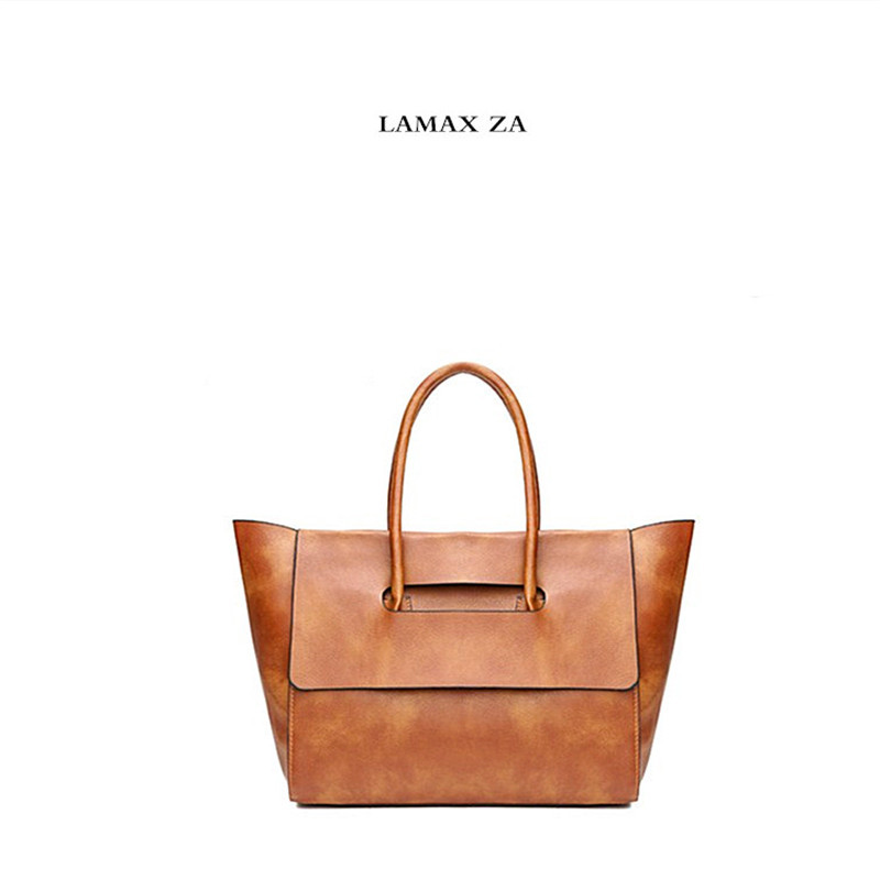 LAMAX ZA Women Leather Handbags Big Women Bag Top-handle Trapeze Ladies Shoulder Bags Summer Shoulder Bags Women's bags
