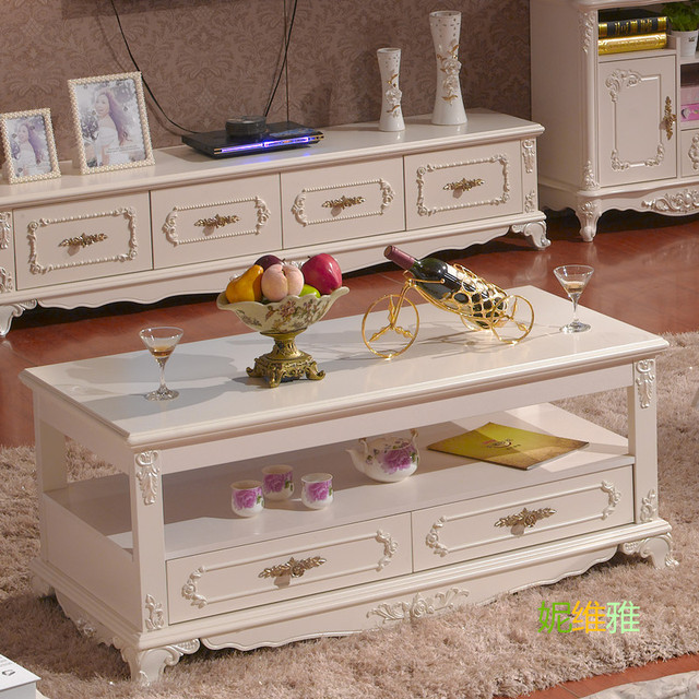 Continental Korean Models Living Room Coffee Table Sofa Side Drawers  Antique Ivory Handle Specials Teasideend