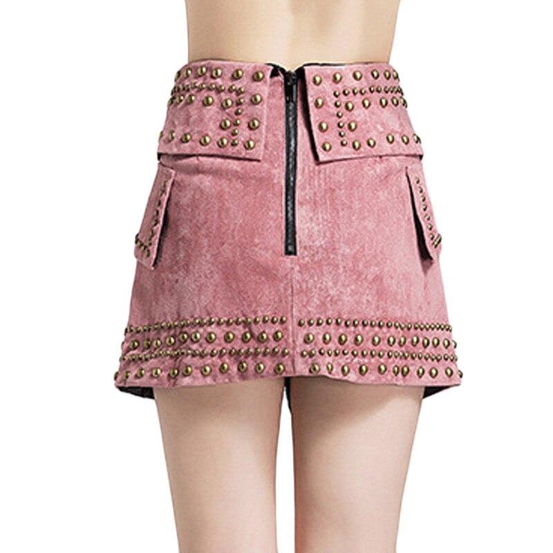 Moda Falda Black Streewear Invierno Equipado E Rosa Okd393 Color 2018 Remache Alta Negro Punk Mujer Mujeres Cintura pink Slim De Faldas Otoño Rtgx0R