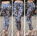 New Fashion Retro Milk Silk Colorized Blue Graffiti Letters Printed Sau San Hin Thin Stretch Leggings Pencil Pants For Women