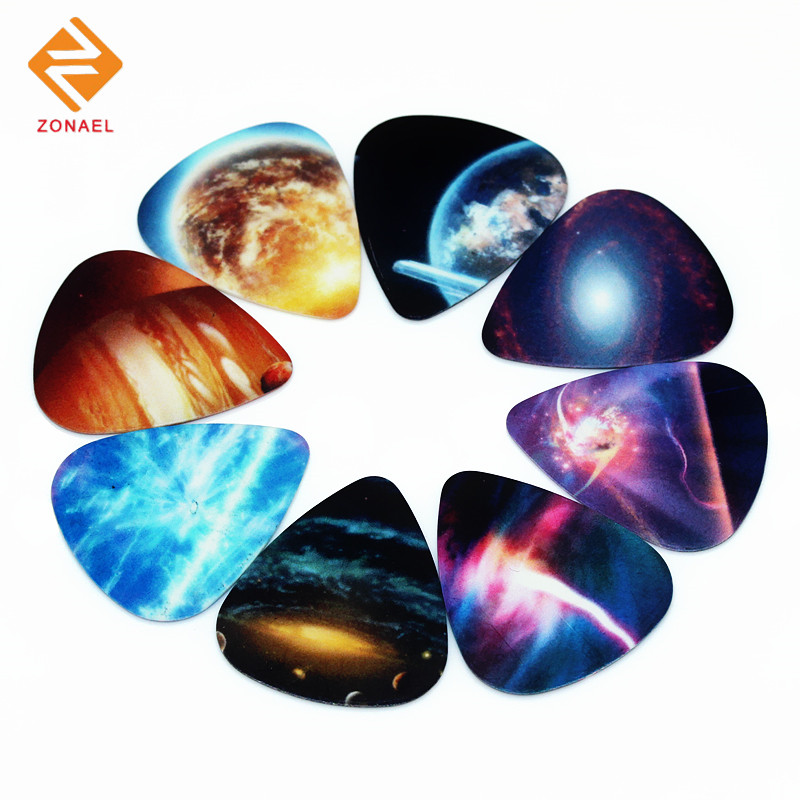 Zonael 10pcs 0.71mm Universe Planet two side picks acoustic guitar paddle DIY Guitar Accessories stratocaster pick 1s2-12