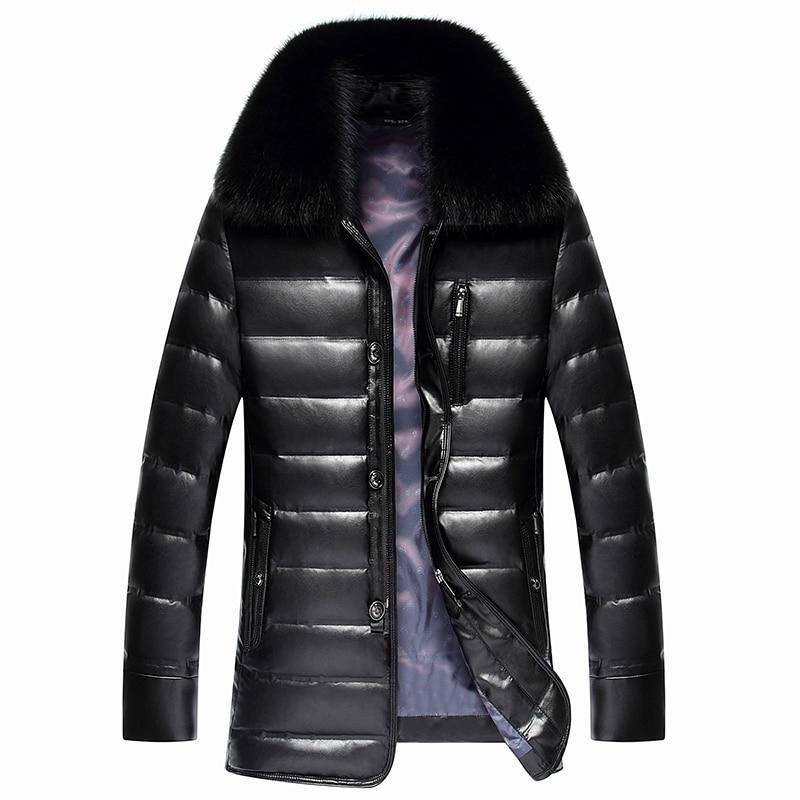 2017 New Mens PU Leather Down Jacket Men coat Fox Fur collar Coat Men Leather Jackets Coats Winter Down Coat Warm Parka