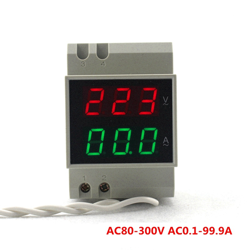 Din Rail Dual Led Display Digital AC Voltmeter Ammeter Voltage Ampere Meter Volt Current Panel Tester AC80-300V 0.1-99.9A dual usb current voltage charger detector battery tester voltmeter ammeter 6412