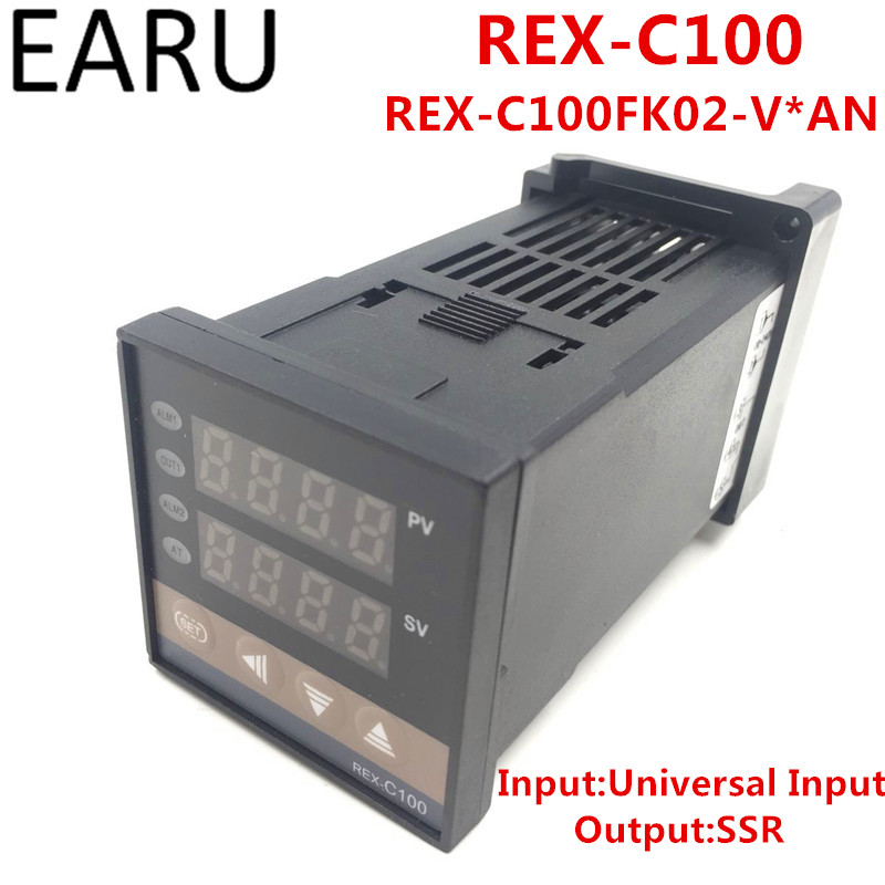 <font><b>REX</b></font>-C100 <font><b>REX</b></font>-<font><b>C100FK02</b></font>-<font><b>V*AN</b></font> Digital PID Temperature Control Controller Thermostat SSR Output 0-400 Degrees Universal Input image