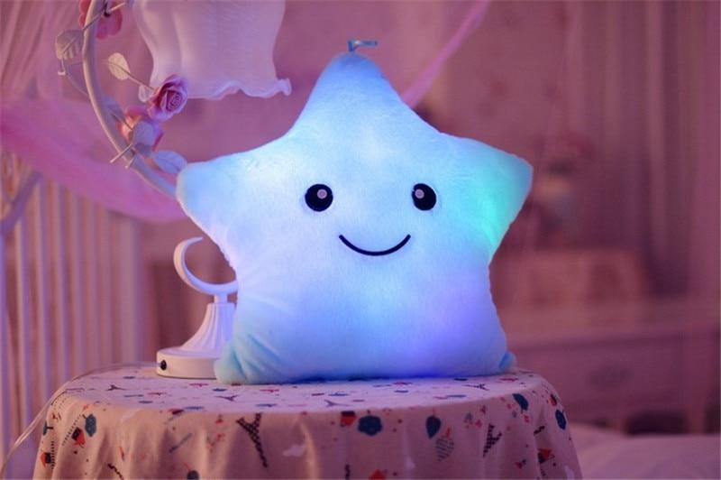 1 unids 38 cm * 35 cm estrella en forma de almohada luz led linda - Muñecas y peluches - foto 3