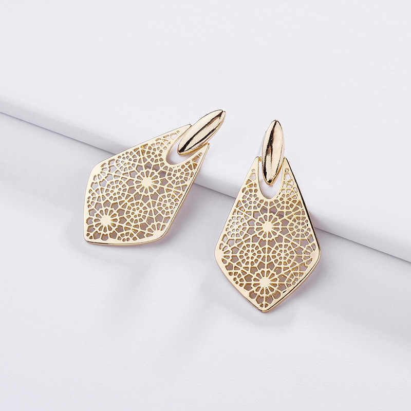 ZWPON 2019 Brand KS Gold Filigree Arrow Earrings for Women Fashion Famous Designer Teardrop Earring Jewelry Valentine's Day Gift