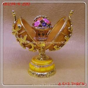 Image 5 - easter egg faberge trinket box egg jewelry box storage box handmade vintage egg shape metal jewelry gift box
