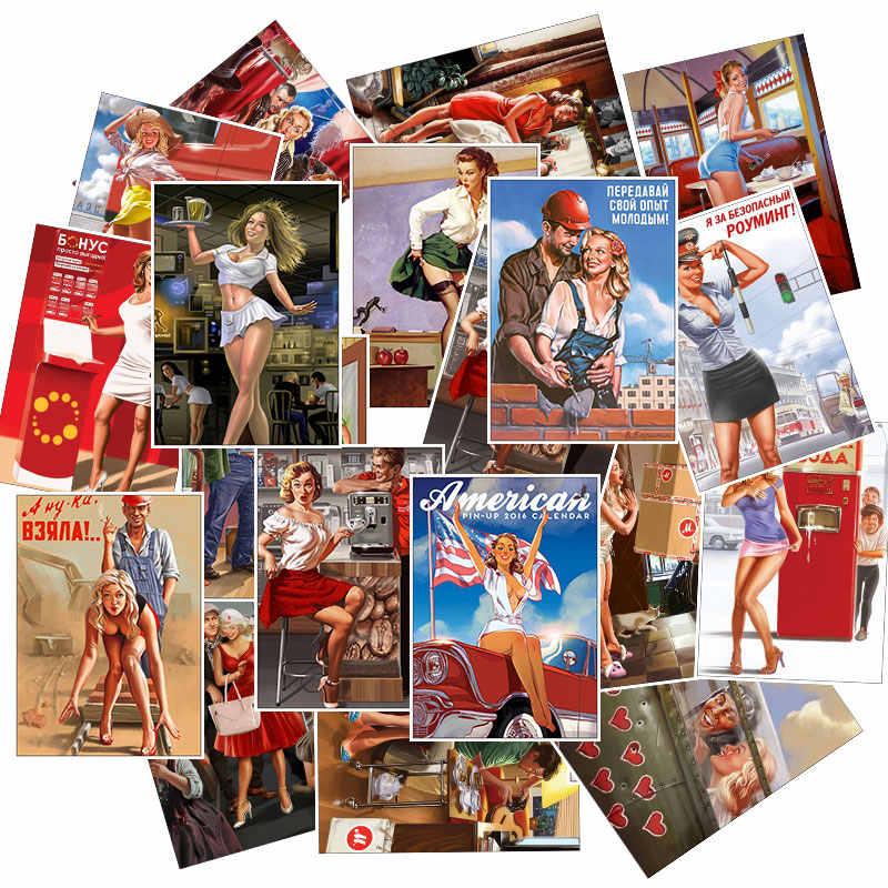 25 pcs/pack pin-up fille autocollants décalcomanie pour Snowboard bagages voiture style ordinateur portable étanche PVC Sexy beauté fille autocollant jouet cadeaux