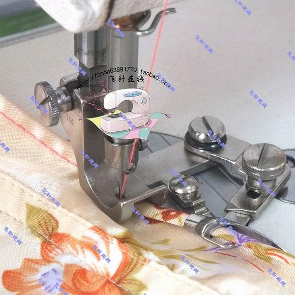 Machine à coudre industrielle liant plat voiture mousseline de soie courbe sertissage pied ourlet courbe sertissage pied