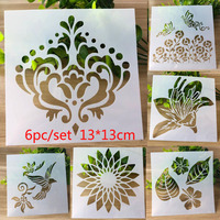 6pc Stencil Crown Butterfly Template Painting Stencil For Scrapbooking Stamp Embossing Card DIY Craft Plastic Drawing Templates