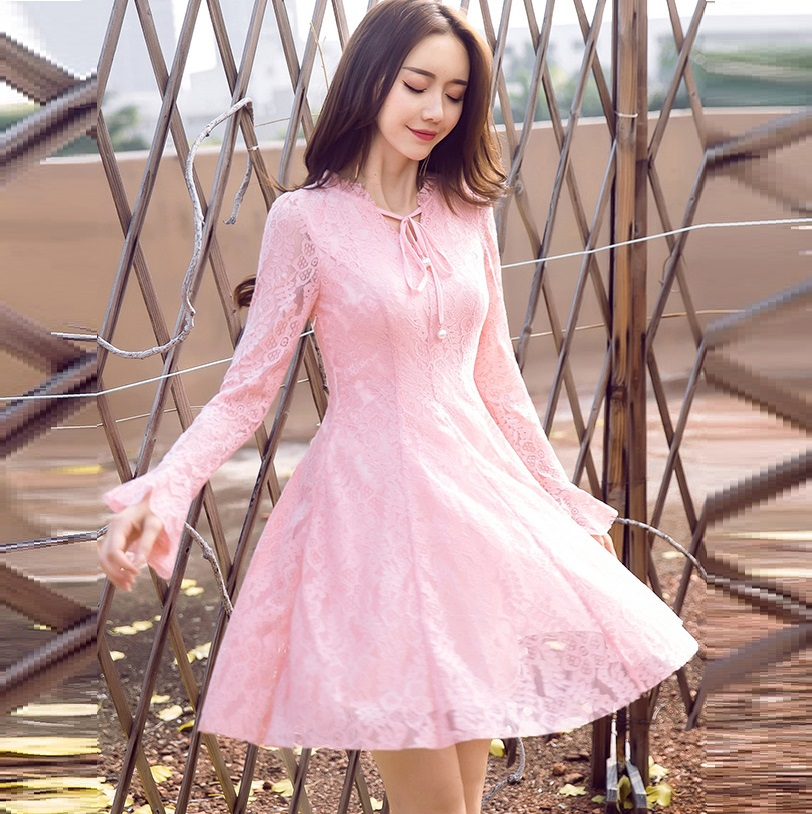 2017 Autumn Fashion Ladies plus size elegant pinched waist Lace ball gown Dress Stand collar cultivating party Dress XXXXL 19805